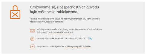 Zablokovanéí ING konto